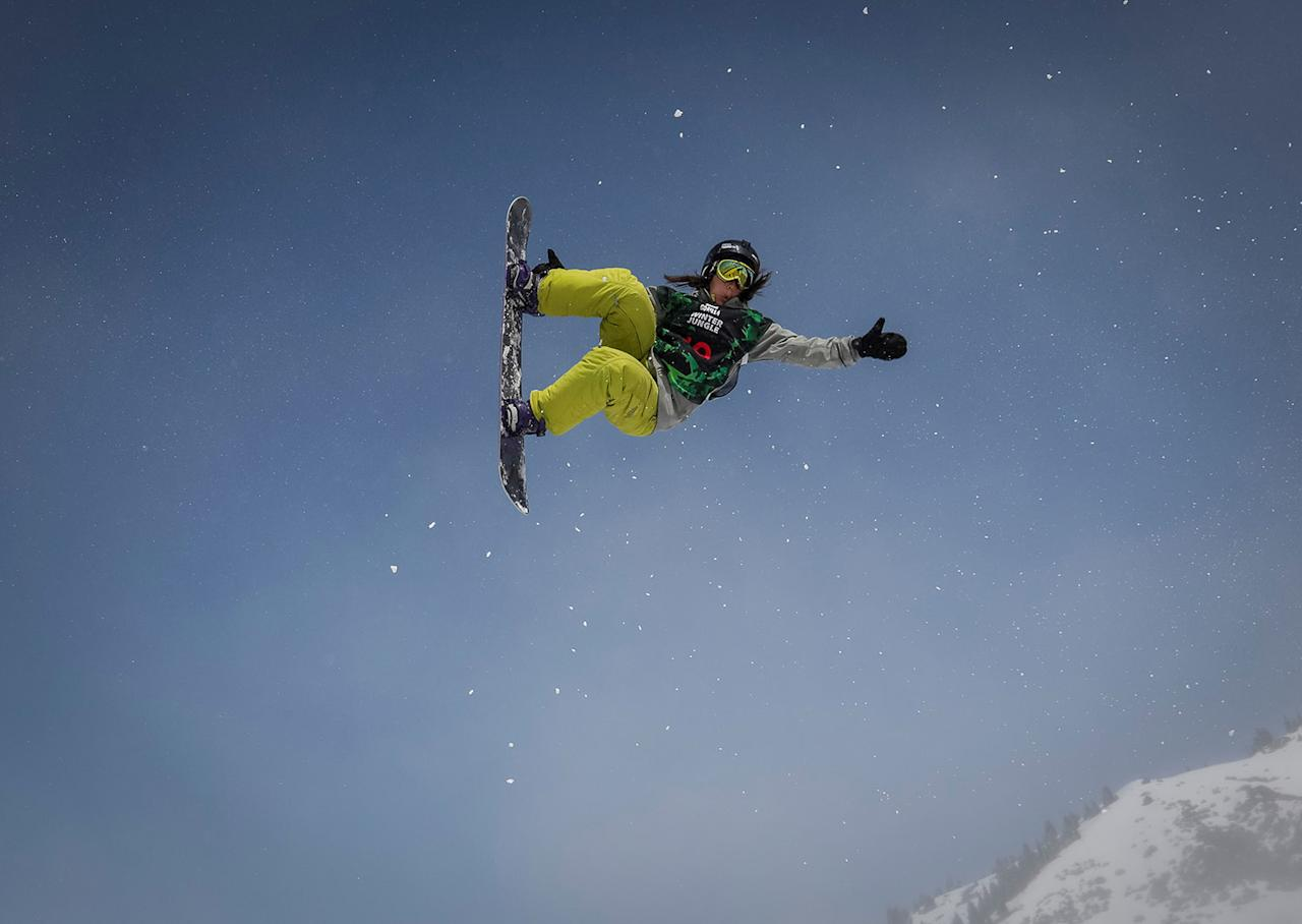 <p>An athlete soars during Gorilla Winter Jungle snowboarding and freestyle skiing festival at ski resort Shimbulak outside Almaty, Kazakhstan, March 11, 2017. (Photo: Shamil Zhumatov/Reuters) </p>