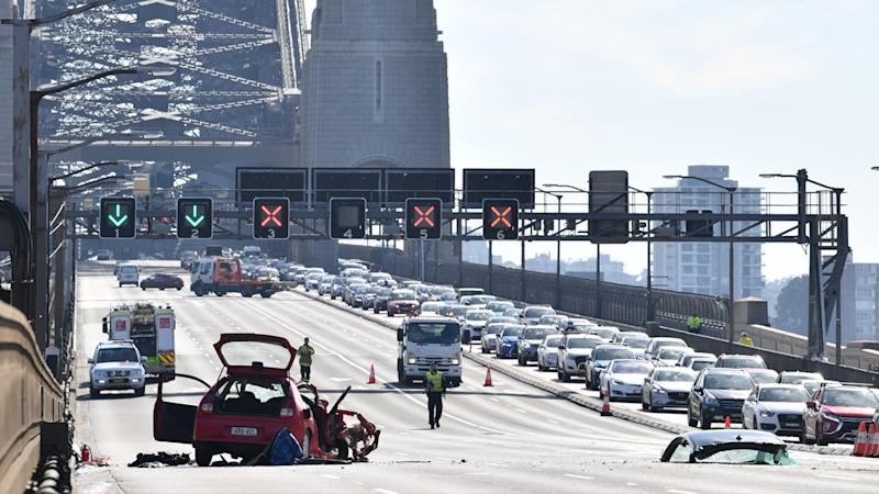 The wreckage of the multi-car accident on the Sydney Harbour Bridge.