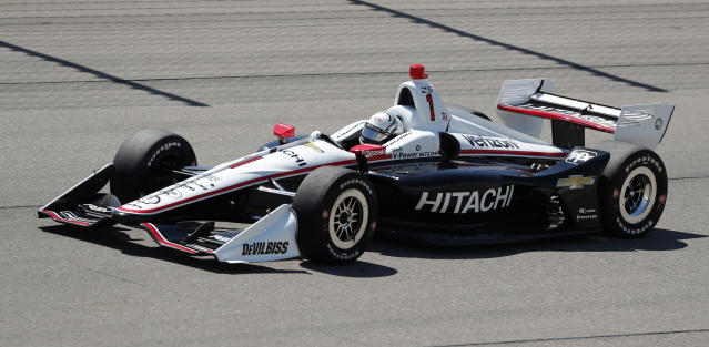 FILE - In this July 8, 2018, file photo, Josef Newgarden competes during an IndyCar Series auto race at Iowa Speedway in Newton, Iowa. Newgarden already has his first IndyCar season championship. He goes into the back half of this years 17-race schedule already with three wins, and is out front again in the title chase. (AP Photo/Charlie Neibergall, File)