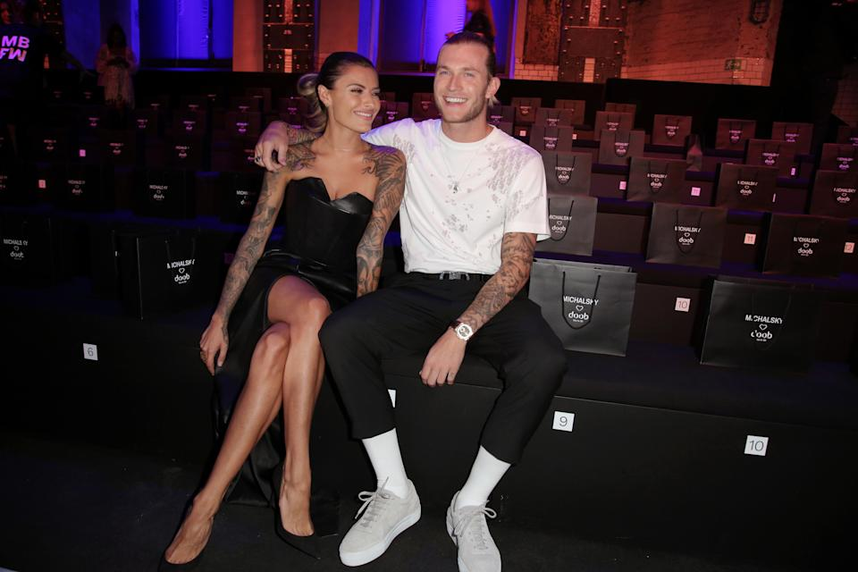 BERLIN, GERMANY - JULY 03: (L-R) Loris Karius and Sophia Thomalla attend the Atelier Michalsky show during the Berlin Fashion Week Spring/Summer 2020 at ewerk on July 03, 2019 in Berlin, Germany. (Photo by Christian Marquardt/Getty Images for Atelier Michalsky)