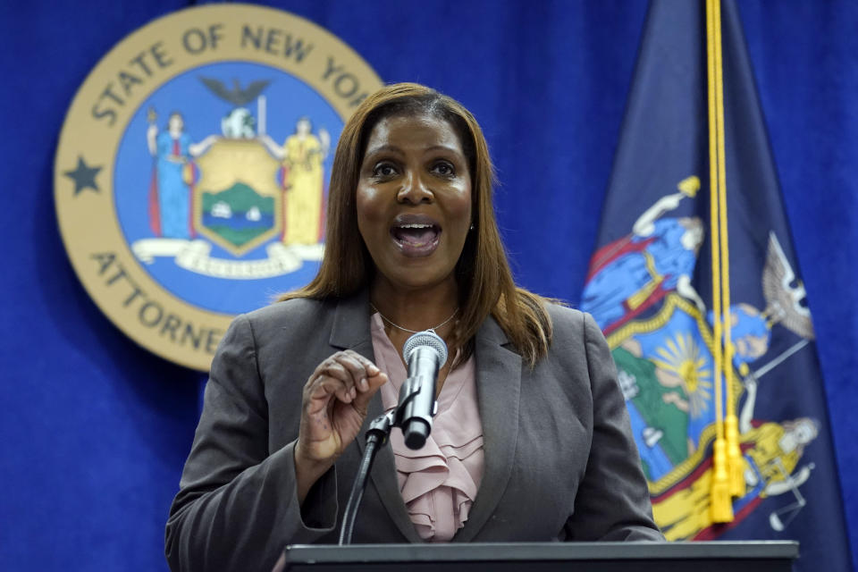 New York Attorney General Letitia James addresses a news conference at her office, in New York, Friday, May 21, 2021. James said Friday that she's assigned two lawyers to work with the Manhattan district's attorney's office on a criminal investigation into former President Donald Trump's business dealings. (AP Photo/Richard Drew)