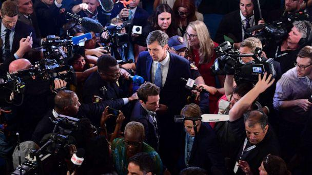 PHOTO: Democratic presidential hopeful former Rep. Beto O'Rourke speaks with the press after the third Democratic primary debate of the 2020 presidential campaign season in Houston, Sept. 12, 2019. (Frederic J. Brown/AFP/Getty Images)