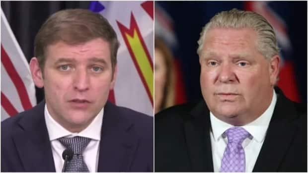 Newfoundland and Labrador Premier Andrew Furey, left, has spoken with Ontario Premier Doug Ford several times offering relief and support to medical personnel in Ontario.