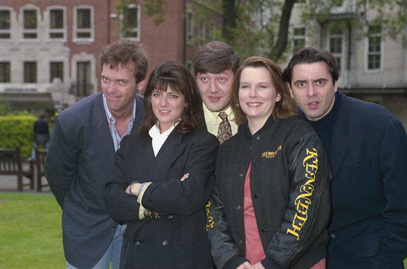 From left to right, Hugh Laurie, Emma Freud, Stephen Fry, Jennifer Saunders and Tony Slattery, 25th April 1991. (Photo by Dave Benett/Hulton Archive/Getty Images)