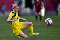 <p>Clare Polkinghorne of Australia dives for a ball during the womens football tournament bronze medal match against The United States.</p>
