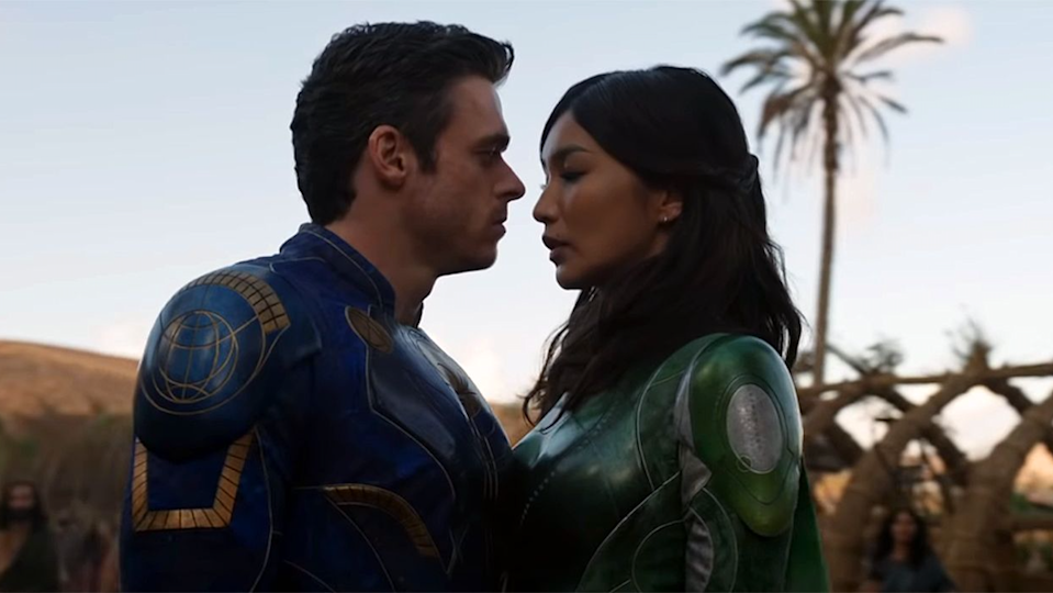 Richard Madden and Gemma Chan get close to kissing in Eternals.