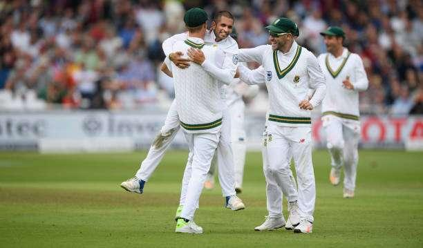 NOTTINGHAM, ENGLAND - JULY 15: South Africa bowler Keshav Maharaj celebrates after bowling Jonny Bairstow during day two of the 2nd Investec Test match between England and South Africa at Trent Bridge on July 15, 2017 in Nottingham, England. (Photo by Stu Forster/Getty Images)