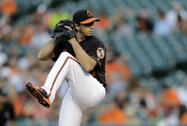 Baltimore Orioles starting pitcher Miguel Gonzalez throws to the Minnesota Twins in the first inning of a baseball game, Friday, Aug. 29, 2014, in Baltimore. (AP Photo/Patrick Semansky)