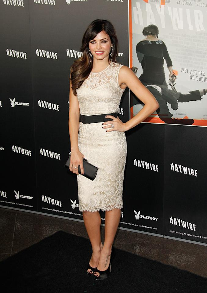 """<a href=""""http://movies.yahoo.com/movie/contributor/1809103126"""">Jenna Dewan</a> at the Los Angeles premiere of <a href=""""http://movies.yahoo.com/movie/1810215399/info"""">Haywire</a> on January 6, 2012."""