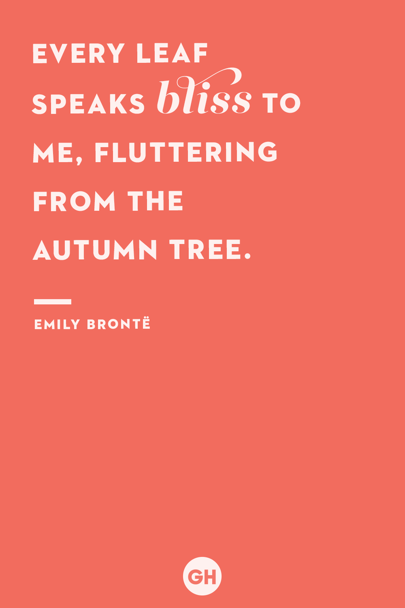 <p>Every leaf speaks bliss to me, fluttering from the autumn tree.</p>