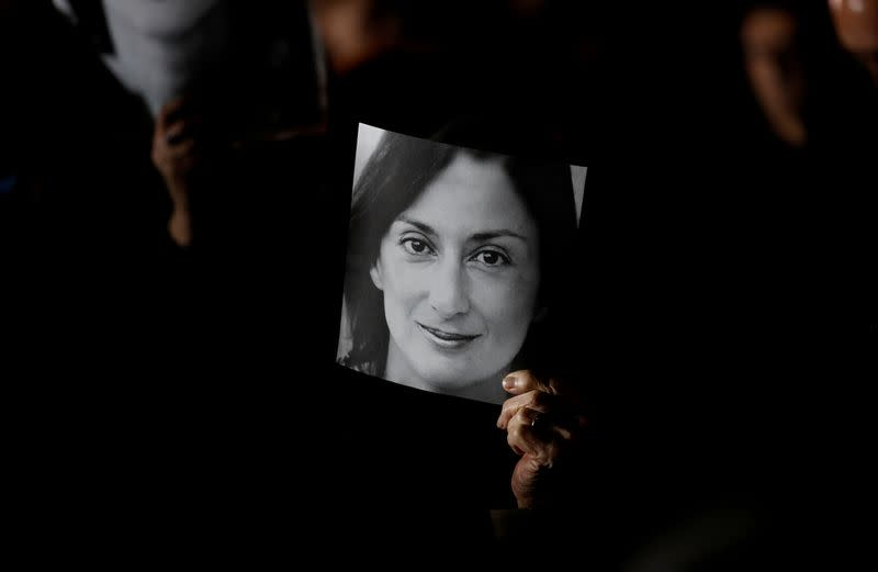 FILE PHOTO: Demonstration to demand justice over the murder of journalist Daphne Caruana Galizia outside the Office of the Prime minister at Auberge de Castle, in Valletta