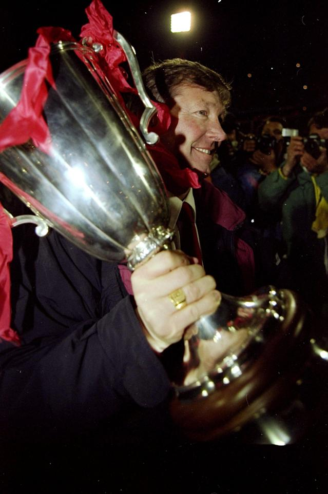 15 May 1991: Portrait of Manchester United Manager Alex Ferguson with the trophy after the European Cup Winners Cup final against Barcelona at the Feyenoord Stadium in Rotterdam, Holland. Manchester United won the match 2-1. \ Mandatory Credit: David Cannon/Allsport