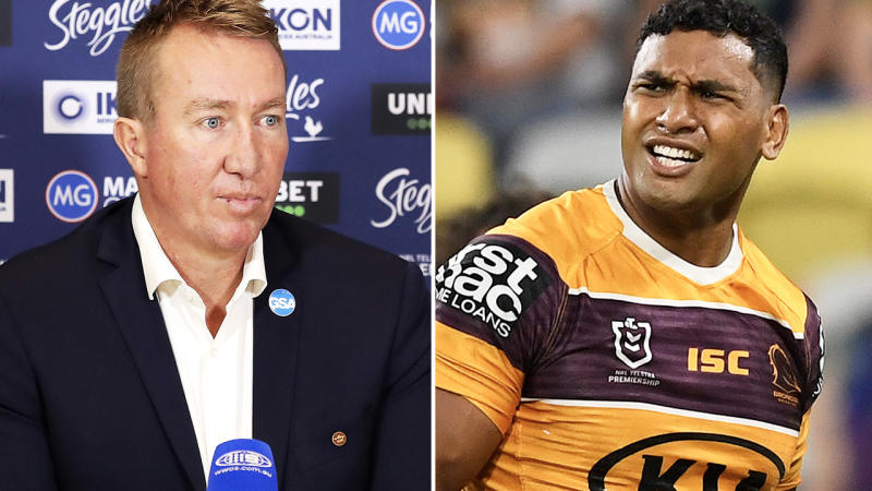 Trent Robinson and Tevita Pangai Jr, pictured here in the NRL.