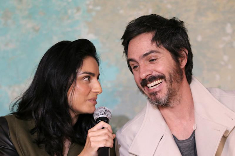 MEXICO CITY, MEXICO - AUGUST 27: Aislinn Derbez and Mauricio Ochmann pose during the Merkaba x Ais y Mau collection launch at Televisa San Angel on August 27, 2019 in Mexico City, Mexico. (Photo by Adrián Monroy/Medios y Media/Getty Images)