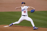 Los Angeles Dodgers starting pitcher Walker Buehler throws to the plate during the first inning of an interleague baseball game against the Seattle Mariners Tuesday, May 11, 2021, in Los Angeles. (AP Photo/Mark J. Terrill)