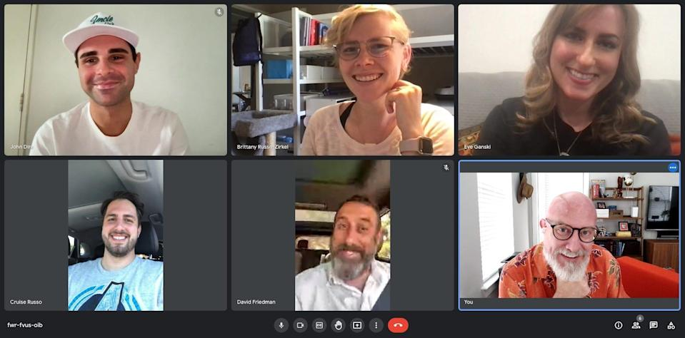 A team of managers at Xos Trucks meets with its new marketing coordinator during a recent virtual onboarding. Experts say virtual onboarding is likely to stay post-pandemic.