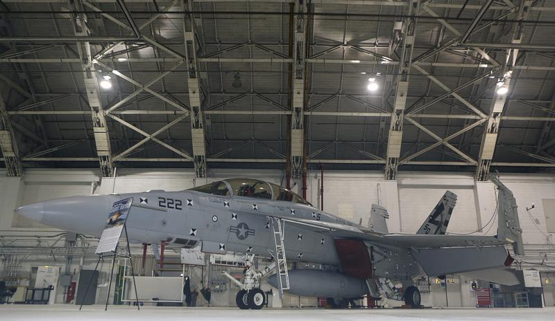 F/A 18 E/F fighter jet is seen in hanger at Naval Air Station Patuxent River Maryland
