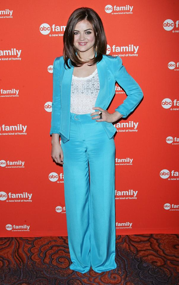 "Lucy Hale (""<a href=""http://tv.yahoo.com/pretty-little-liars/show/39256"">Pretty Little Liar</a><a>s</a>"") attends ABC Family's 2012 Upfront Presentation at the Mandarin Oriental Hotel on March 19, 2012 in New York City."
