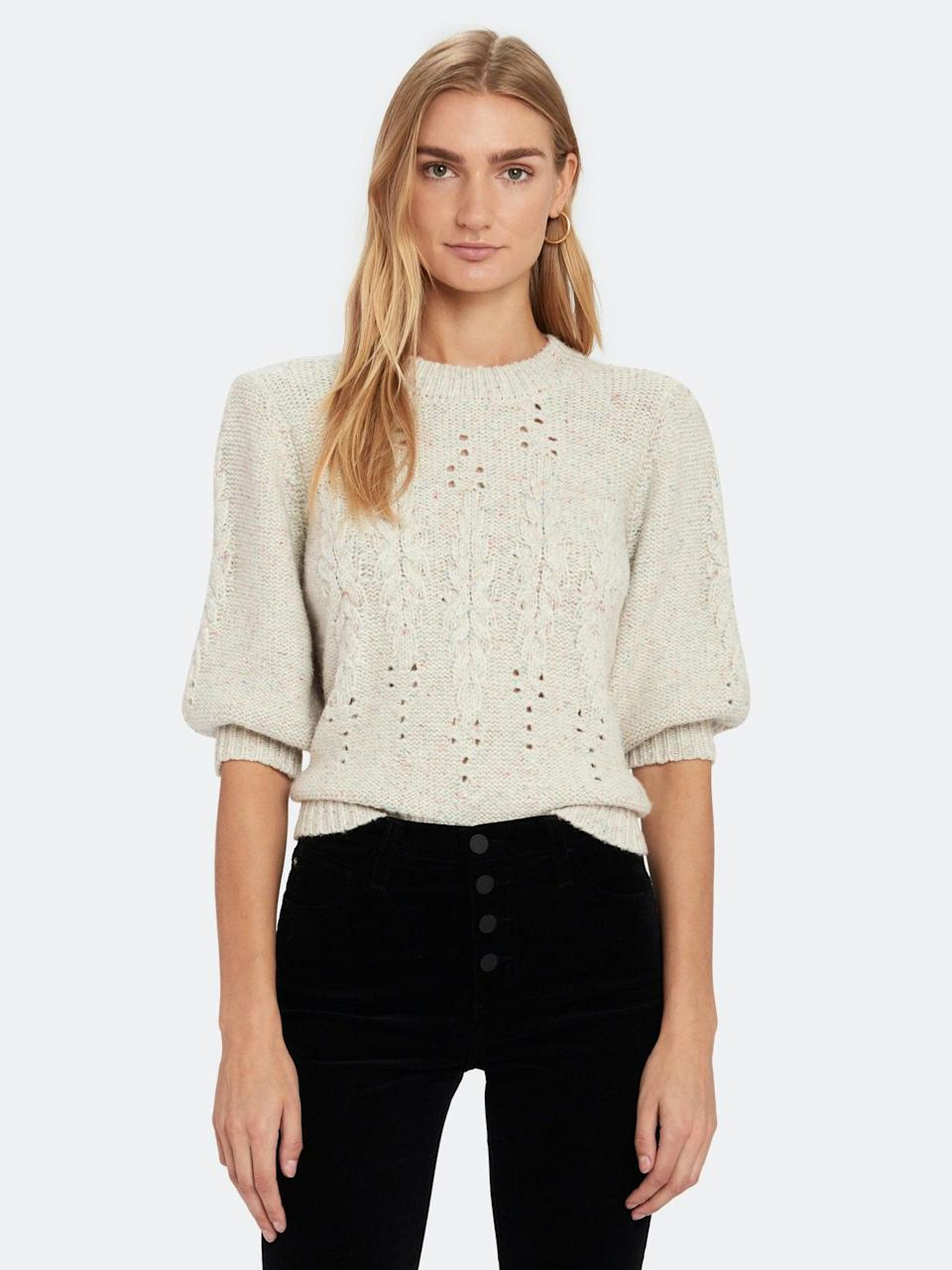 <p>Wear this <span>Joie Joza Puff Sleeve Sweater</span> ($223, originally $298) with jeans for casual Fridays or a plaid miniskirt for margaritas.</p>