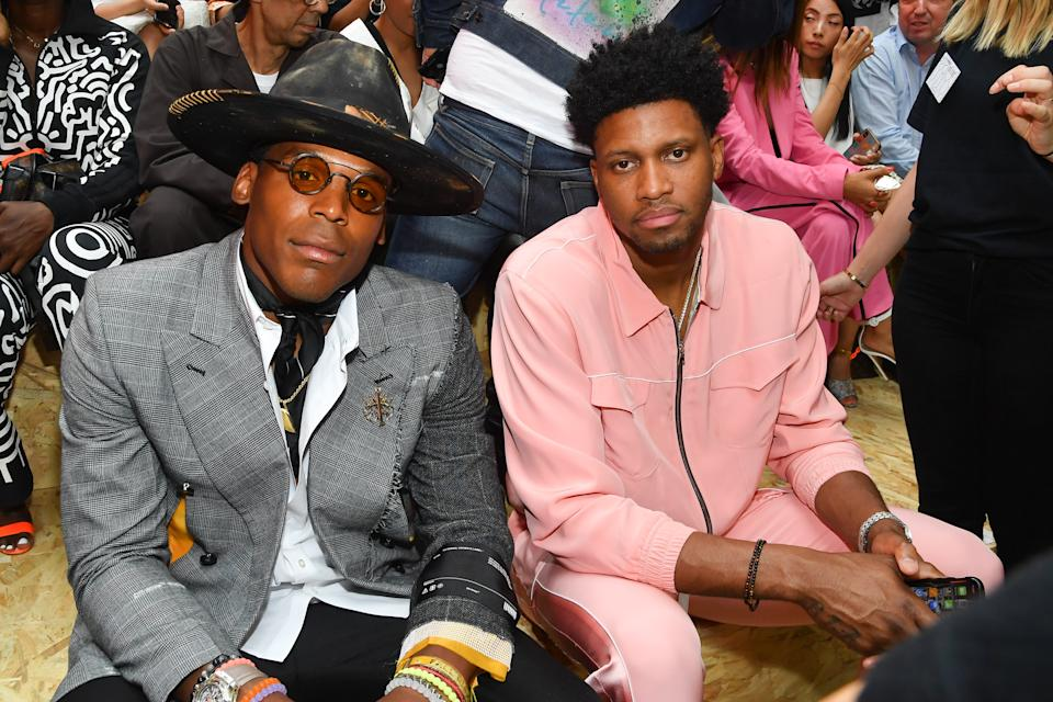PARIS, FRANCE - JUNE 19: Cam Newton and Rudy Gay attend the Off-White Menswear Spring Summer 2020 show as part of Paris Fashion Week on June 19, 2019 in Paris, France. (Photo by Stephane Cardinale - Corbis/Corbis via Getty Images)
