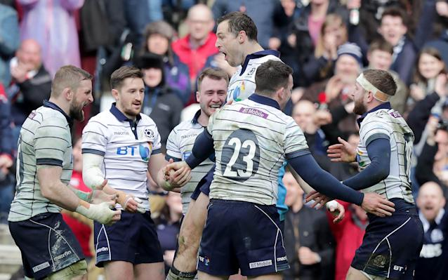 Scotland scored four tries in a comfortable win - Copyright (c) 2017 Rex Features. No use without permission.