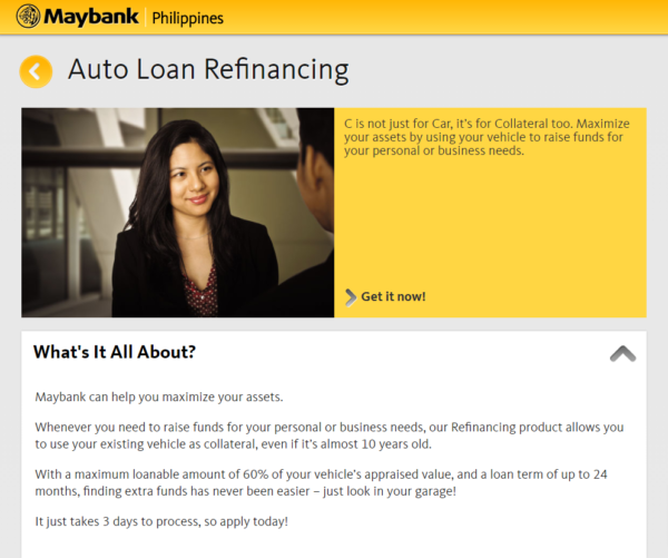 car collateral loan in the Philippines - Maybank Auto Loan Refinancing