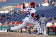 Washington Nationals starting pitcher Jon Lester (34) delivers during the first inning of a baseball game against the Pittsburgh Pirates, Monday, June 14, 2021, in Washington. (AP Photo/Carolyn Kaster)