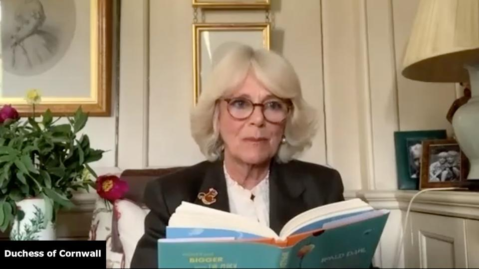 Camilla read from James and the Giant Peach in her first character role. (Clarence House/Roald Dahl Story Company)