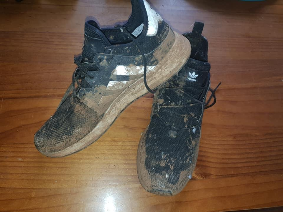 Muddy trainers $200 shoes before transformation cleaning hack