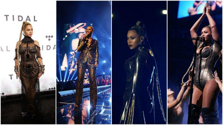 Beyoncé's many outfits from her appearance at the Tidal X: 1015 charity concert Saturday night. (Photos: Getty Images)