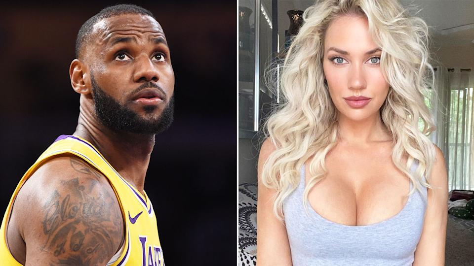 Paige Spiranac joined a chorus of other NBA fans accusing LeBron James of acting in the Lakers' win over the Warriors. Pic: Getty/Instagram