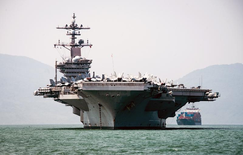 The Nimitz-class aircraft carrier USS Carl Vinson will make a four-day port call to the central city of Danang (AFP Photo/Devin M. MONROE)