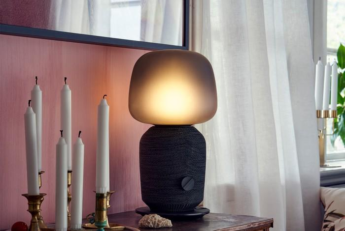 One of the two models of the IKEA smart speaker table lamp put out in a partnership with Sonos.