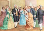 """<p>There was no formal ball arranged on inauguration night for the first President of the United States. Instead, George and Martha Washington were invited to <a href=""""https://www.smithsonianmag.com/smithsonian-institution/when-was-first-inaugural-ball-180961863/"""" rel=""""nofollow noopener"""" target=""""_blank"""" data-ylk=""""slk:an already planned dance"""" class=""""link rapid-noclick-resp"""">an already planned dance</a> in New York, where guests celebrated the occasion. </p>"""