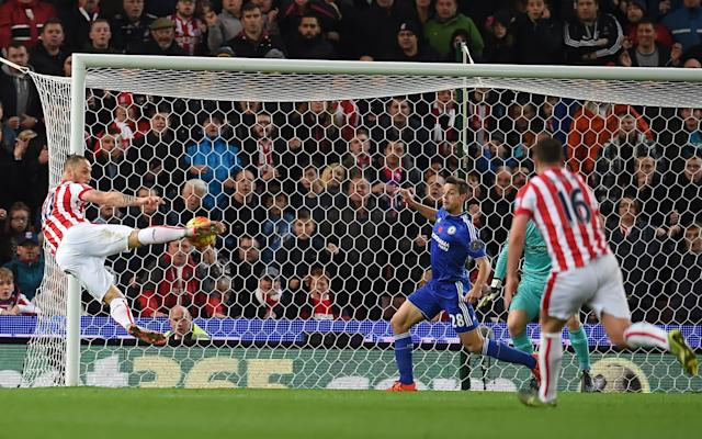 <span>An acrobatic finish from Marko Arnautovic won this fixture for Stoke last season</span> <span>Credit: PAUL ELLIS/AFP/Getty </span>