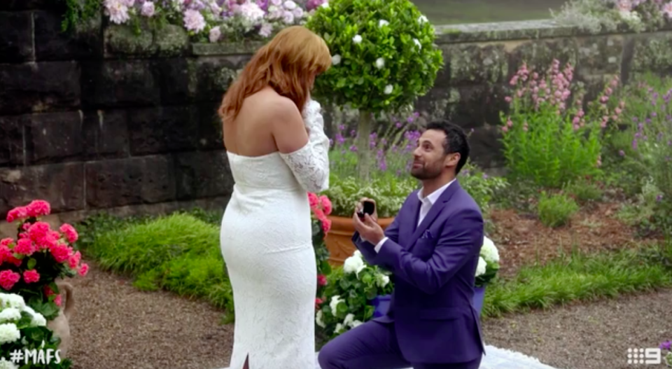 Cam proposed to Jules at their vow renewal ceremony. Photo: Channel Nine
