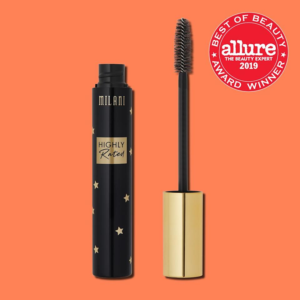"With its chunky, slightly tapered brush, <strong><a href=""https://shop-links.co/1683266618250527905"" rel=""nofollow"">Milani Highly Rated Mascara</a></strong> concentrates creamy blackness at the roots…and on the tips…and at the corners of lashes. One generous stroke builds intense thickness and fluffiness."