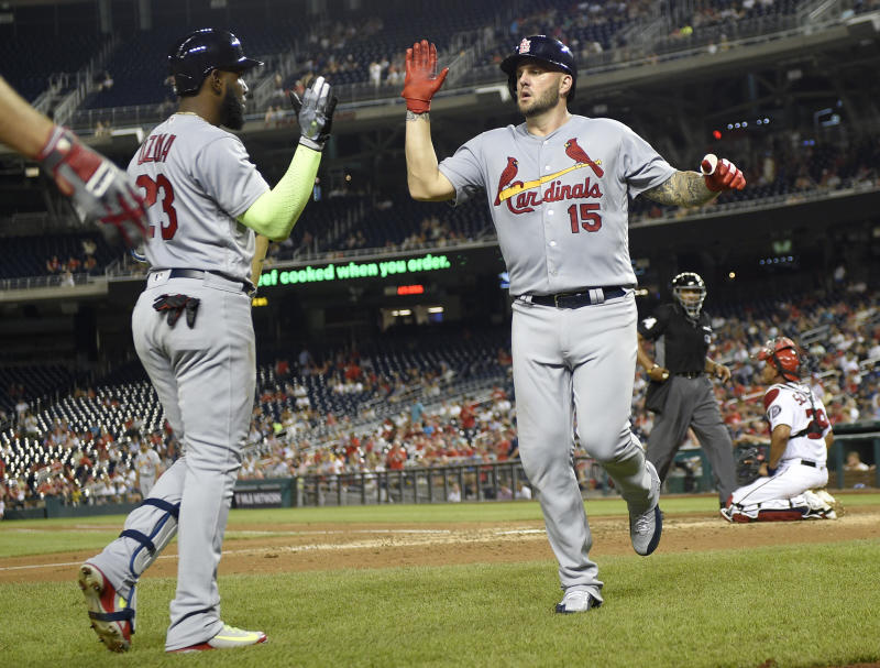 St. Louis Cardinals' slugger Matt Adams (15) celebrates his three-run home run against his former team, the Nationals. (AP)