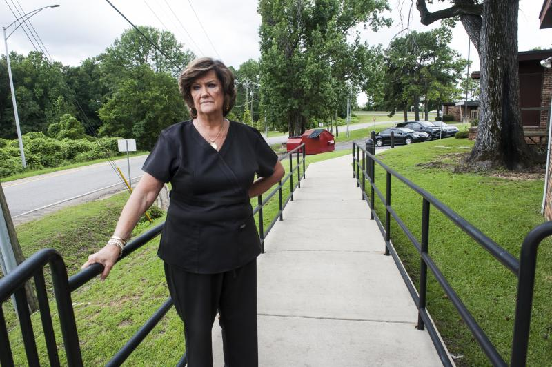 Gloria Gray, owner of the West Alabama Women's Center, stands outside her Tuscaloosa clinic. (Chloe Angyal/HuffPost)