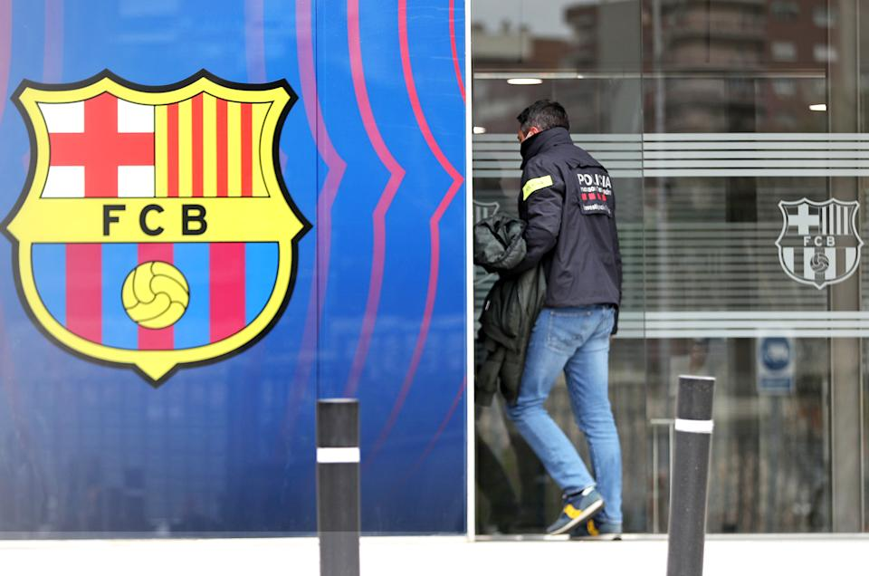 The police searched the offices of FC Barcelona and allegedly detained former president Josep Maria Bartomeu and Jaume Masferrer, for the Barcagate case, in Barcelona on 1st March 2021.