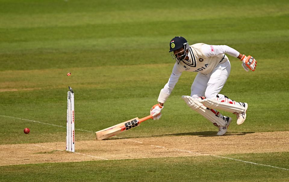SOUTHAMPTON, ENGLAND - JUNE 23: Ravindra Jadeja of India survives a run out chance during the Reserve Day of the ICC World Test Championship Final between India and New Zealand at The Hampshire Bowl on June 23, 2021 in Southampton, England. (Photo by Alex Davidson/Getty Images)