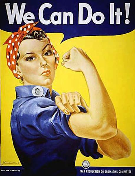 """""""Rosie the Riveter"""" dressed in overalls and bandanna was introduced as a symbol of patriotic womanhood in the 1940's. Rose Will Monroe played """"Rosie the Riveter,"""" the nation's poster girl for women joining the work force during World War II. Monroe was working as a riveter building B-29 and B-24 military airplanes at the Willow Run Aircraft Factory in Ypsilanti, Mich., when she was asked to star in a promotional film about the war effort. The bomber plant west of Detroit was where, at President Franklin Roosevelt's urging, Ford Motor Co. switched from making cars to planes and produced one an hour _ nearly 9,000 B-24 Liberator bombers in all _ to help win the war in Europe. At the time of its 1940s construction, the plant was the largest factory in the world, employing 40,000 men and women, including Rose Will Monroe, who was believed to have been the inspiration for the famed Rosie the Riveter character. The factory went back to auto production for half a century under the General Motors name and closed for good last decade. The plan is to knock it down. But a group of donors are hoping to save at least a piece of it so they can erect a museum dedicated to Detroit's role as the """"Arsenal of Democracy."""" To make that happen, though, organizers need to raise $5 million by Aug. 1. (AP Photo)"""
