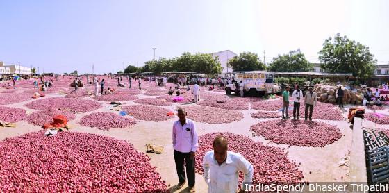 Onions pile up in MP's Mandsaur agriculture market. They sold for a 1/5th of what it cost to grow them.