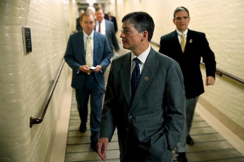Hensarling arrives for a Republican caucus meeting at the U.S. Capitol in Washington