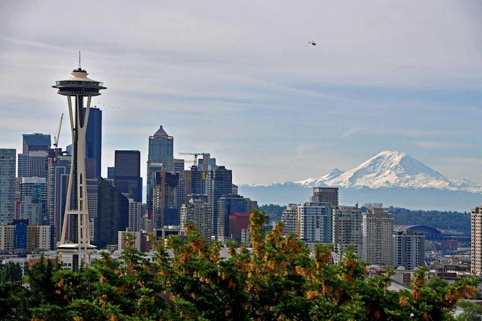 Mount Rainier seen from downtown Seattle on June 9, 2019. The mountain suffered devastating, rapid snowmelt during the recent deadly heatwave in the Pacific Northwest (Getty Images for Rock'n'Roll Mar)