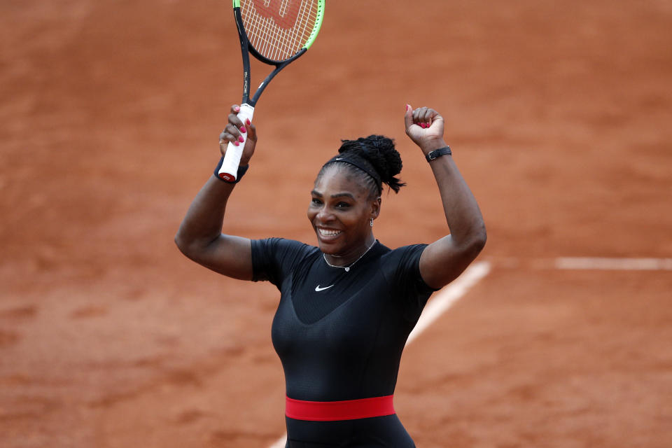Serena Williams drew ire after wearing a catsuit at the French Open in 2018. (AP Photo)