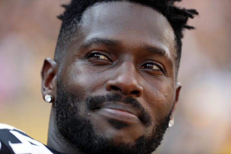 Pittsburgh Steelers wide receiver Antonio Brown stands on the sideline in the final minute of a win over the Atlanta Falcons in an NFL football game in Pittsburgh, Sunday, Oct. 7, 2018. (AP Photo/Gene J. Puskar)