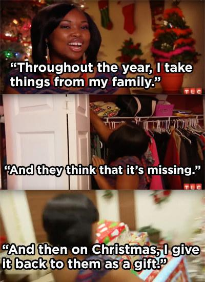 A woman stealing from her family, wrapping the items, and presenting them as Christmas gifts