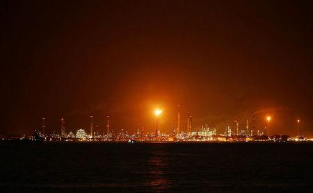 FILE PHOTO: A general view of Royal Dutch Shell's Pulau Bukom offshore petroleum complex in Singapore