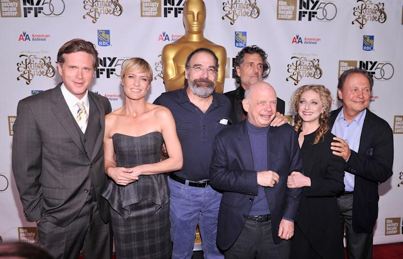 """NEW YORK, NY - OCTOBER 02: (L-R) Cary Elwes, Robin Wright, Rob Reiner, Chris Sarandon, Wallace Shawn, Carol Kane, and Billy Crystal attend the 25th anniversary screening & cast reunion of """"The Princess Bride"""" during the 50th New York Film Festival at Alice Tully Hall on October 2, 2012 in New York City. (Photo by Stephen Lovekin/Getty Images)"""